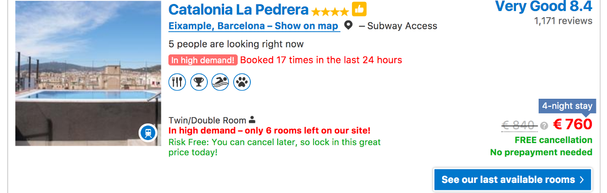 Screenshot of Catalonia La Perrera on Booking.com