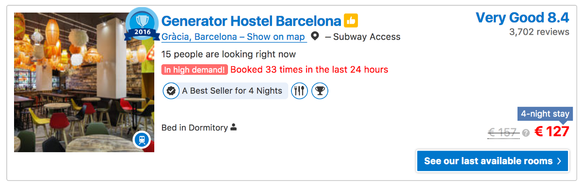 Screenshot of Generator Hostel in Barcelona on Booking.com